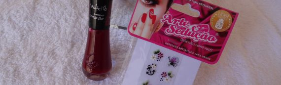 Esmalte cereja flor vult e película arte sedução